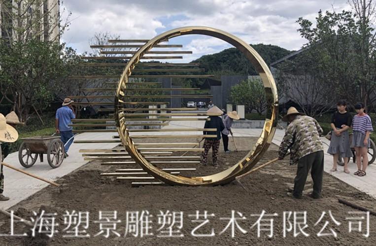 朔州塑景制作不锈钢雕塑 电镀圆形景观艺术