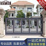 厂家定铝艺制庭院雕刻大门 铝合金别墅围墙大门;