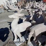 大理石石雕小鹿公园草坪石雕梅花鹿母子鹿摆件雕塑