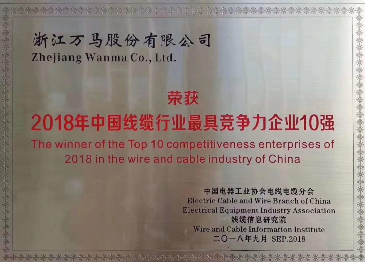 """万马股份再次荣获 """"中国线缆行业最具竞争力企业10强""""称号"""