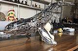 重庆不锈钢镂空鲸鱼雕塑 工艺金属动物雕塑景观定制;