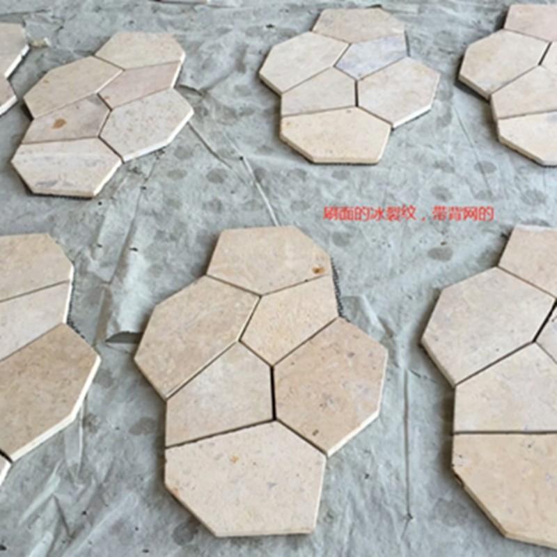 莱姆石 罗曼米黄罗马拼地铺石自然面古堡面可做出口