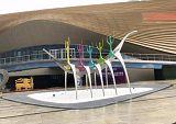萍乡大型不锈钢人物划船雕塑 骨架帆船景观定制;