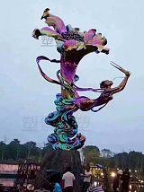 不銹鋼百合花電鍍雕塑 人物吹笙舞蹈雕塑公園;