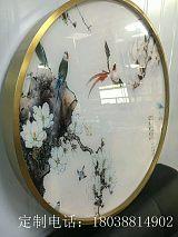 臻劲欧式不锈钢装饰画定制相框客厅金属圆形油画画框;