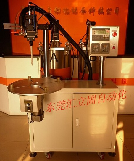 TF-780 A/B双液自动混合带旋转工作台混胶机,圆形滤清器专用灌胶机