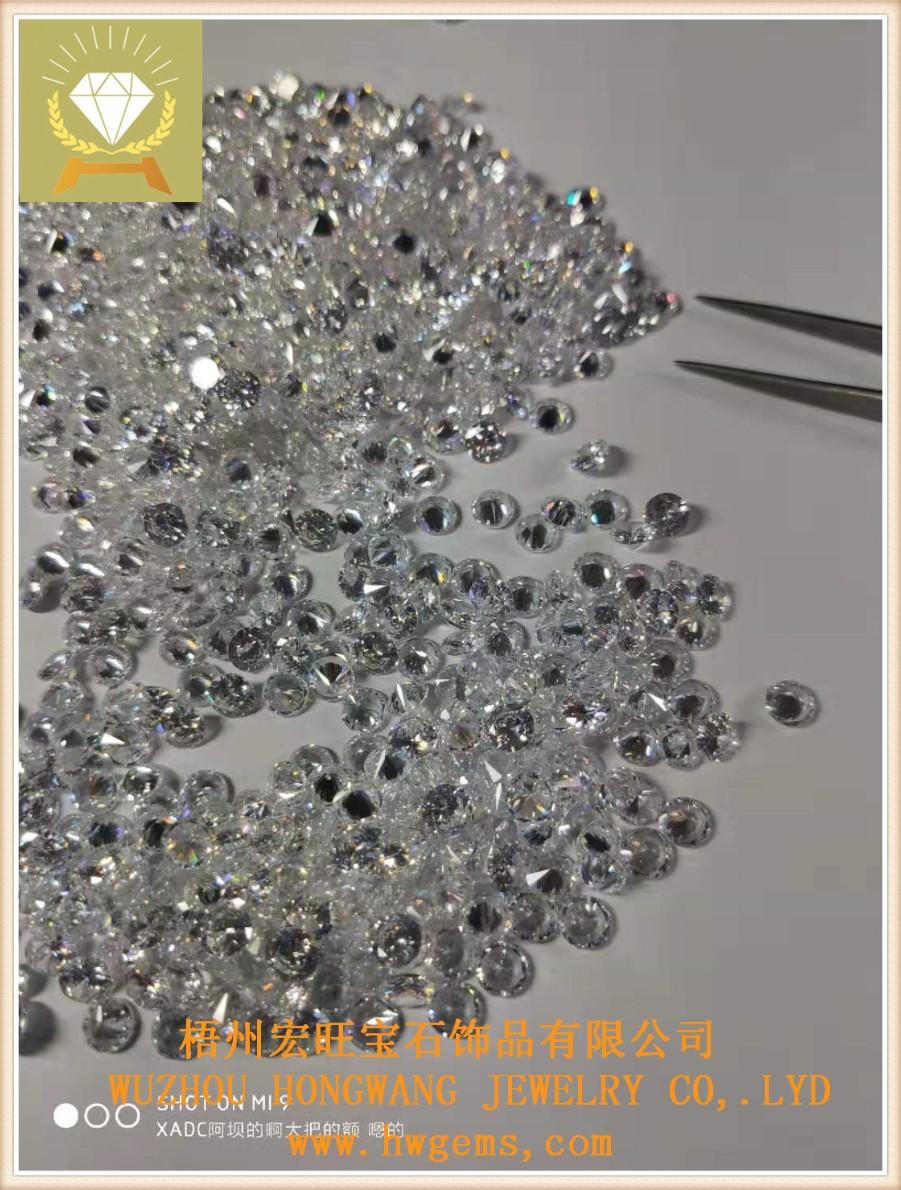圆形6.0白色锆石 梧州宏旺宝石厂家批发*饰饰品裸石配件