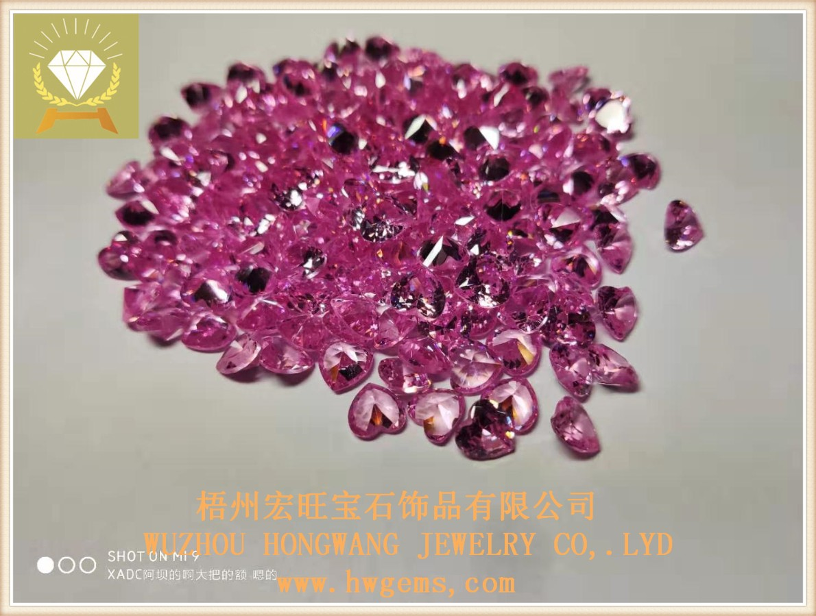 心形6?6 粉红水晶锆 梧州宏旺宝石厂家批发*饰饰品裸石配件