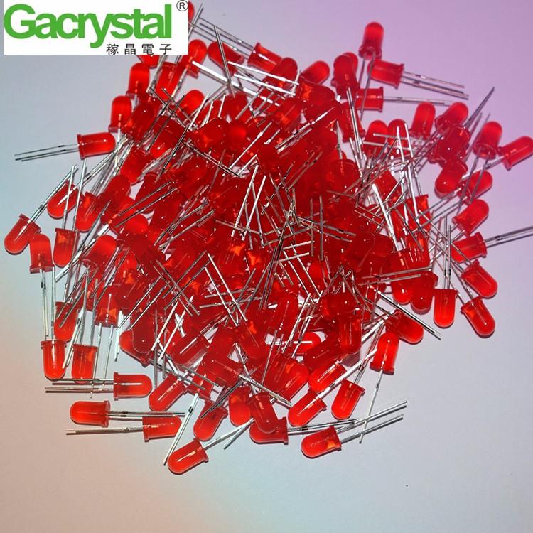 东莞稼晶电子直销F5红发红有边长脚高亮led发光二极管
