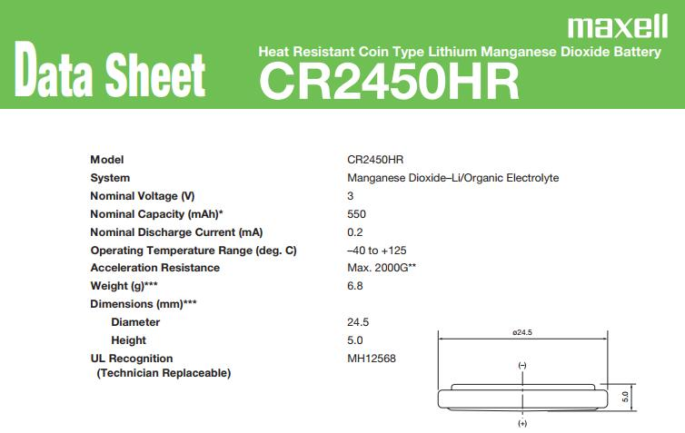 Japan日本原產,maxell高溫電池,CR2032HR,CR2450HR