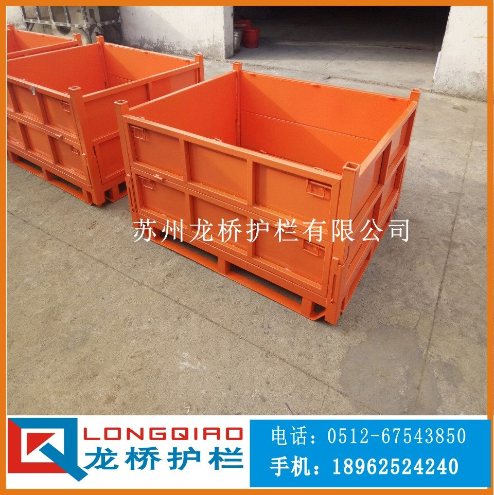 襄阳多功能铁质周转箱 襄阳物料周转箱 可折叠 可订制 龙桥护栏专业生产