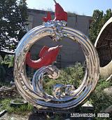 福州圆形不锈钢鲤鱼戏水雕塑 鱼跃龙门故事雕塑