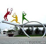 校園運動人物網球拍雕塑 運動題材景觀定制