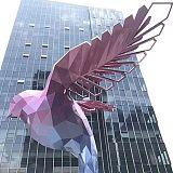 南通金属镀彩鸽子雕塑 酒店几何翅膀摆件