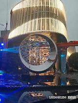 不銹鋼水波紋圓形雕塑 定制酒店可轉動擺件