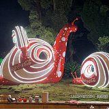 公園發光蝸牛雕塑,玻璃鋼LED燈景觀擺件
