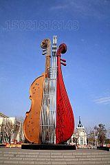常德婚庆装扮不锈钢大提琴花盆雕塑定制工厂;