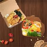 一次性高檔加厚打包外賣快餐輕食牛皮紙紙盒送餐盒長方形牛皮紙;