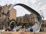 山西大型不锈钢轨道弧形雕塑 抽象艺术摆件