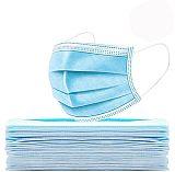 厂家直销一次性成人平面口罩 蓝白色;