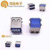 USB 3.0 180度双层母座直插弯脚卷边,USB3;