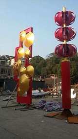 江岸旅游区文化不锈钢灯笼雕塑 金属小型伞摆件;
