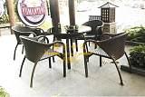 广州雅亭定制YT-039户外休闲藤编咖啡厅桌椅套装;