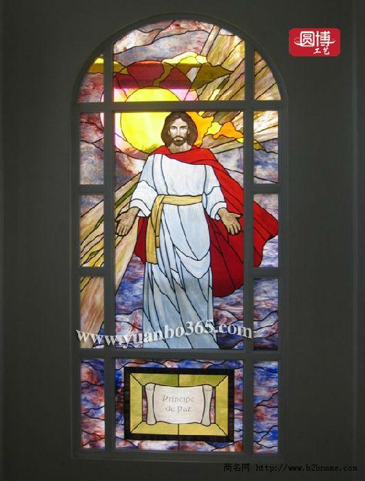 欧式教堂彩绘玻璃 彩绘玻璃穹顶 ;