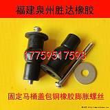 廠家生產黑色馬桶蓋板膨脹螺絲橡膠夾銅件;