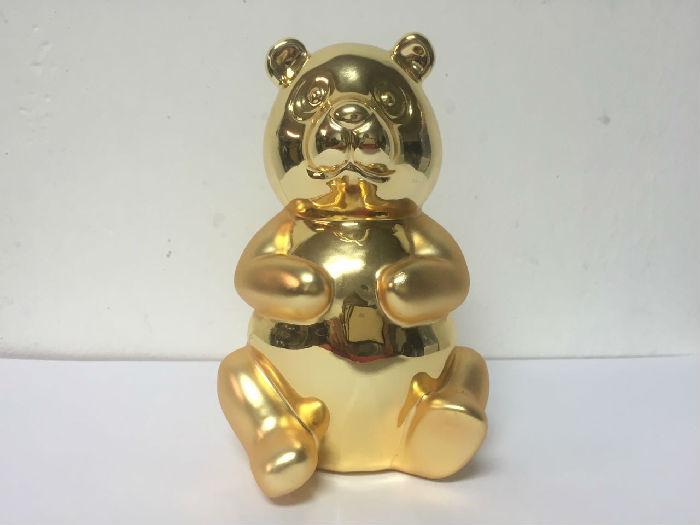 创意纪念版金色熊猫摆件 办公室美陈汽车摆件饰品
