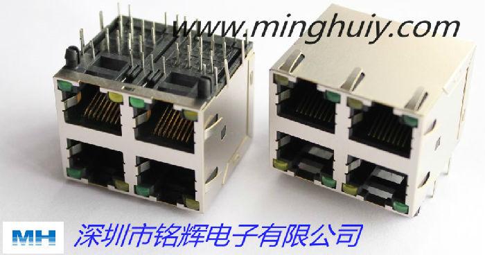 厂家供应59系列2XN 屏蔽带灯RJ45连接器;2X2带灯 RJ45连接器.jpg