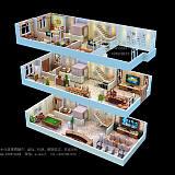 别墅3D户型图制作|联排别墅|渲染户型图;