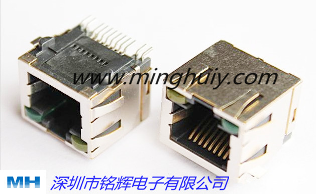 SMT屏蔽带灯RJ45网络连接器 8P8C;HLJ-6031STL-88A 带灯 带弹..jpg