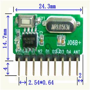 自带解码(学习码)超外差模块无线模块J06B+;