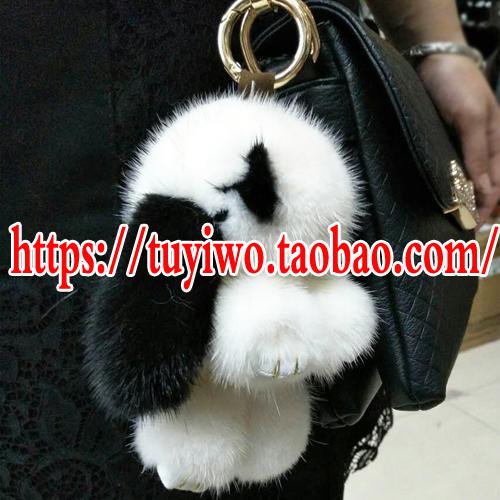 小号进口水貂毛装死兔小兔子挂件手机挂饰钥匙扣包包挂件萌萌兔