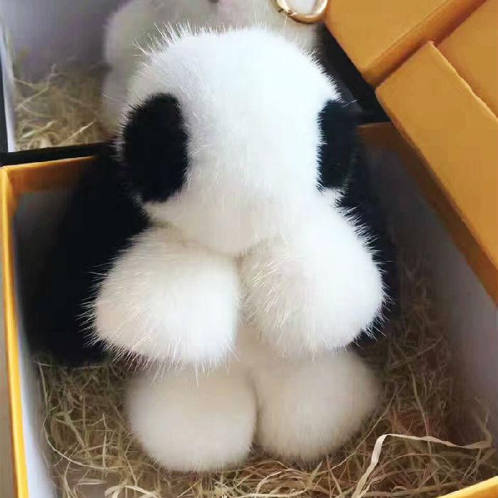 皮毛之乡大号水貂毛小兔子正版毛绒装死兔萌萌兔包包挂件钥匙扣
