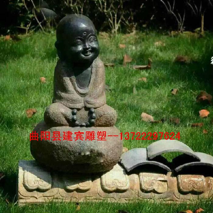 寺院仿古石雕小和尚 小沙弥造型雕塑