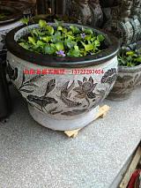 供应精品仿古石雕花盆鱼缸;