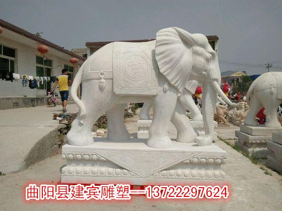 汉白玉石雕小象 门口石雕大象雕刻招财摆件