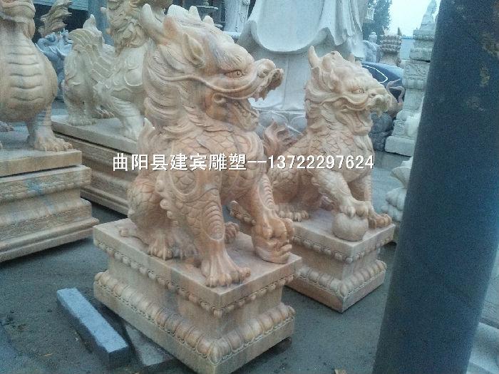 供应天然石材精品石雕麒麟雕塑