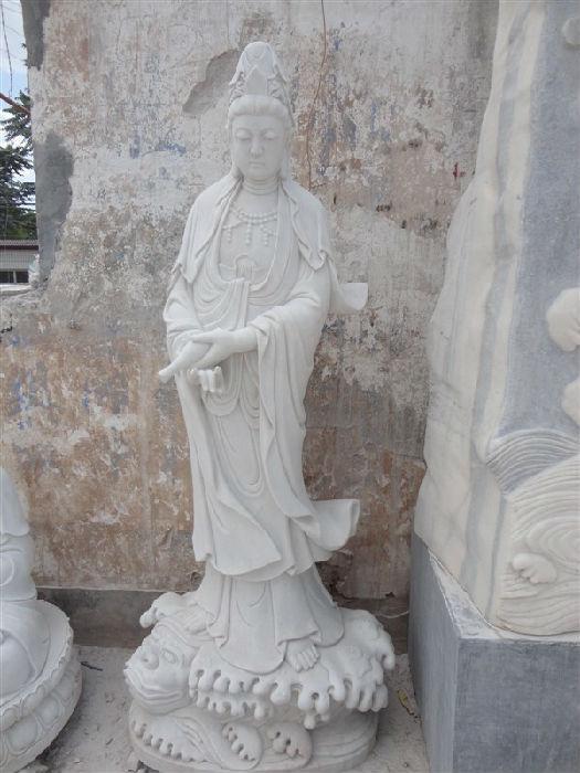 供应天然汉白玉佛像雕塑精品石雕观音像