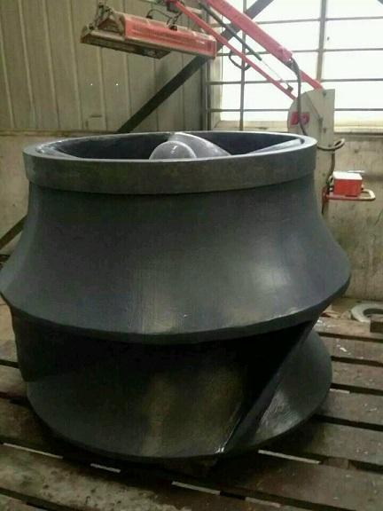 浆液泵磨损问题碳化硅修补叶轮泵壳;