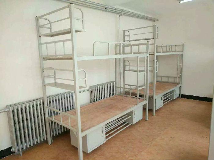 双层镀锌管上下铺床 学生公寓床 员工宿舍双人铁床 烟台厂家批发