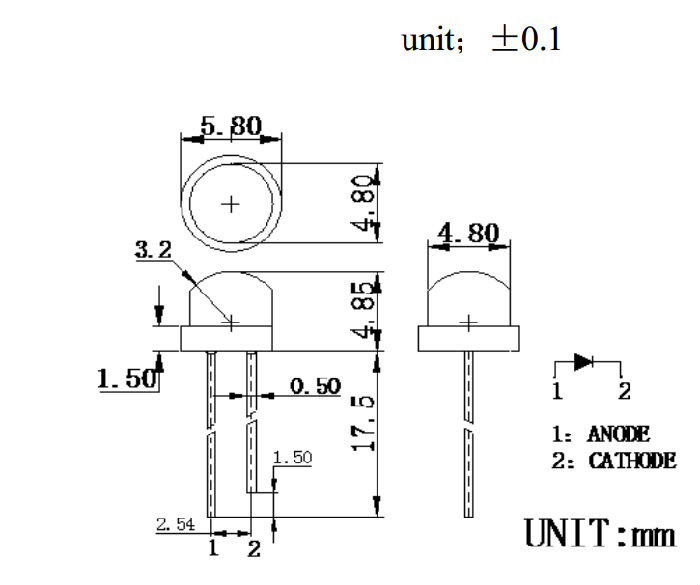 5mm草帽红外线发射管;