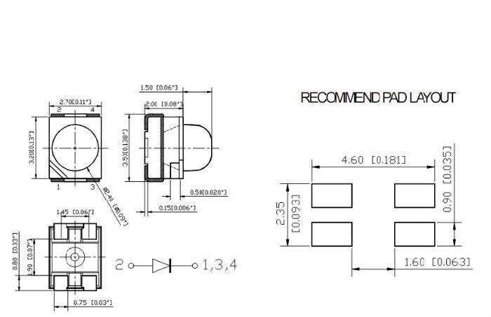 带透镜3528红外线850NM;