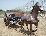 铸铜马拉车雕像摆件生产