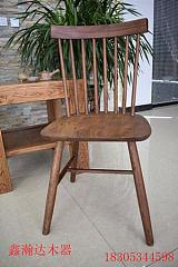 北歐簡約日系實木大小溫莎牛角靠背餐桌椅;