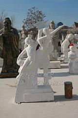 供应石雕腾飞读书学校教育雕塑飞天学生校园摆件汉白玉大理石雕刻