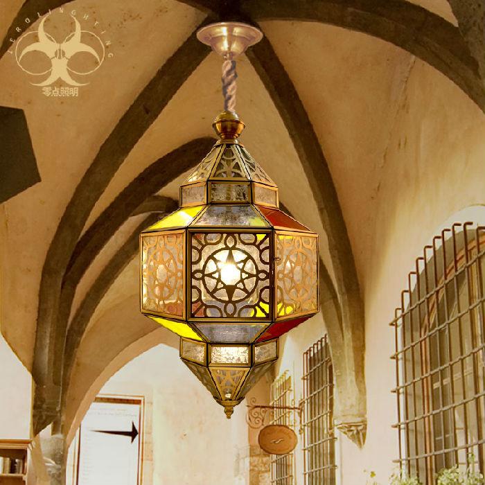 供应欧式吊灯镂空灯具全铜吊灯卧室餐厅入户楼梯复古别墅彩色玻璃D6042