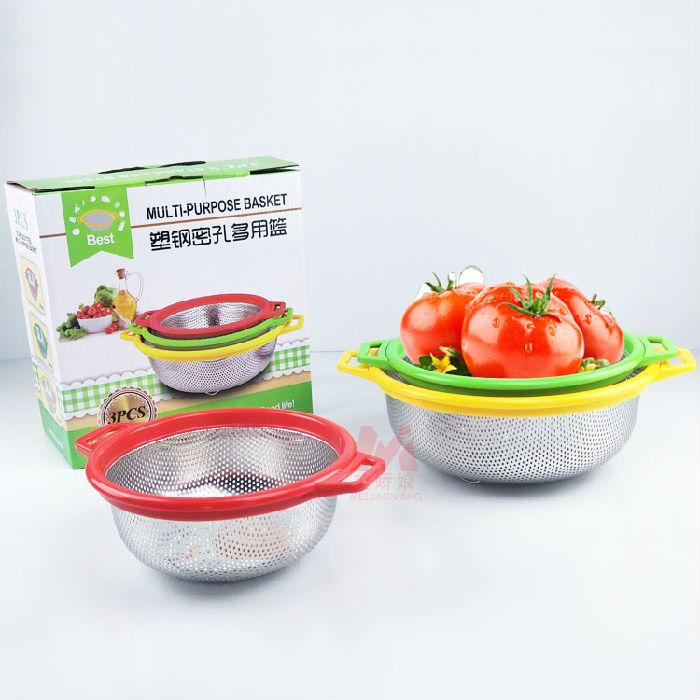 供应不锈钢加厚炫彩塑钢密孔篮洗菜篮沥水篮淘米篮21cm